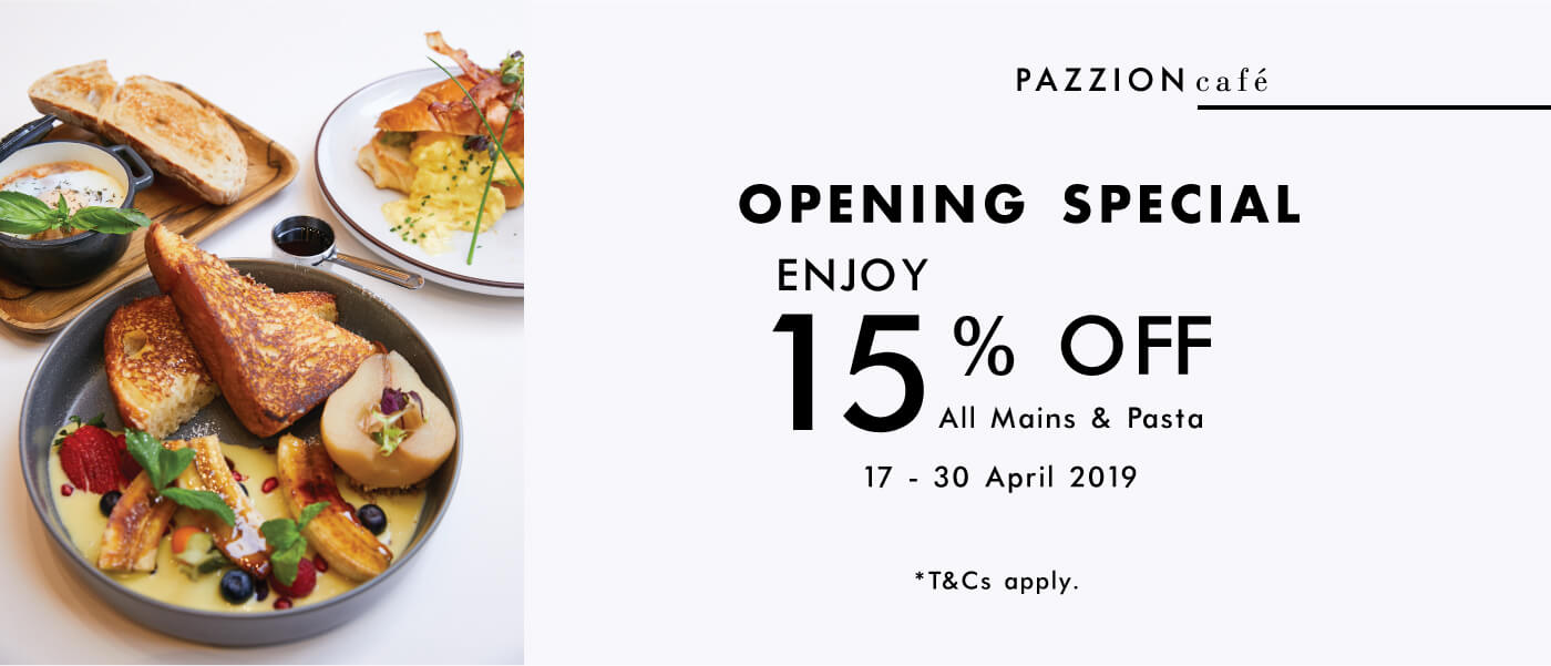 PAZZION Cafe Opening Special
