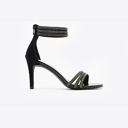 P001-1 Black Curved Strappy Heeled Sandals