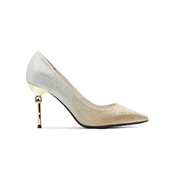 B301-B1 Gold Heels With Metal Stiletto