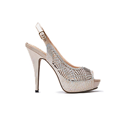 9381-S1 Almond Laser Cut-Out Slingback Heels
