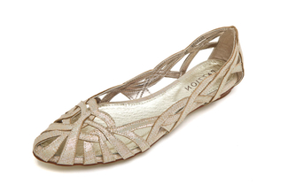 JS51-1F Gold Strappy Flat