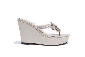 668-B10 Almond Fancy Wedge Sandal
