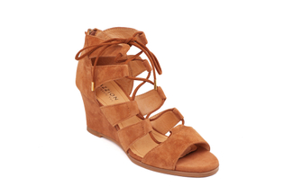 2237-1 Camel Gladiator Wedge Sandals