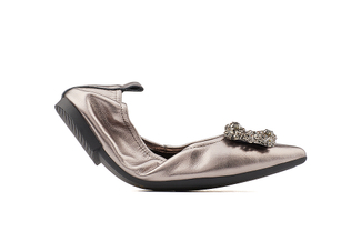 5250-3 Pewter Crystal Buckle Foldable Flats