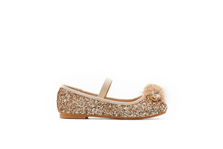 BB1620-98 Kids Gold Crystal Pom Flats