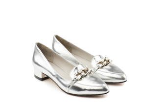 1725-23 Silver Leather Chain Heels