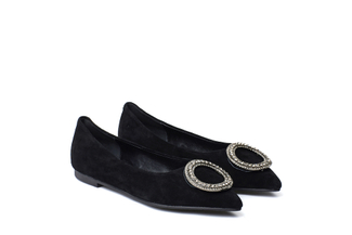 308-1 Black Crystal Buckle Suede Flats