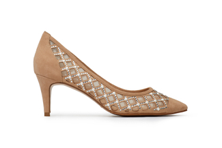 046-102 Almond Suede Mesh Pumps