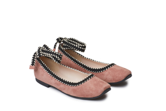 1608-1 Ankle Strap Deep Pink Ballet Flats