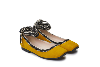 1608-1 Ankle Strap Yellow Ballet Flats