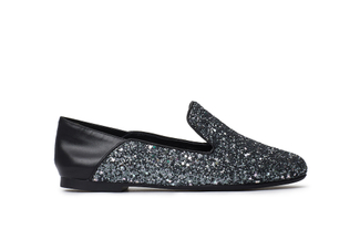 1620-02 Black Glitter Loafers