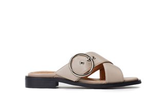 233-2 Apricot Crisscross Slide Sandals