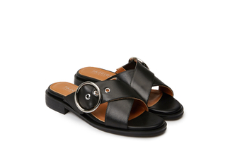 233-2 Black Crisscross Slide Sandals