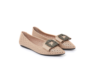 35210-101 Almond Crystal Buckle Flats