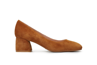 6603-1A Camel Block Heel Suede Pumps