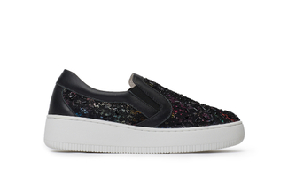 8166-3 Black Crystal Mesh Sneakers