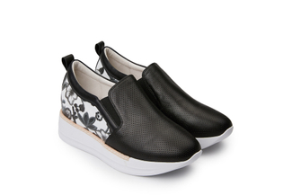 8193-1 Black Flowery Sneakers