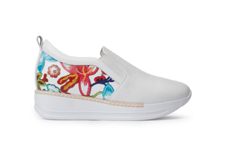 8193-1 White Flowery Sneakers