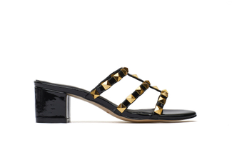 9628-8A Black Studded Slide Sandals