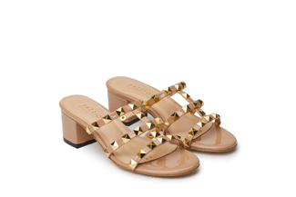 9628-8A Nude Studded Slide Sandals