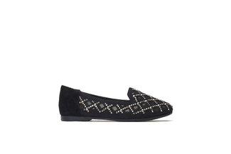 BB1620-046 Kids Black Suede Mesh Flats