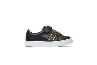 BB8988-32 BLACK KIDS STUDDED SNEAKERS