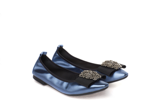 3230-2 Navy Jeweled Metallic Flats