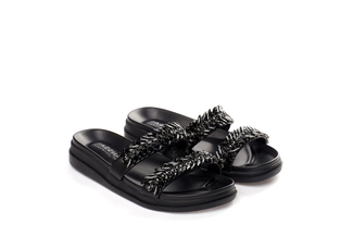 6240-11 Black Jewelled Slide Sandals
