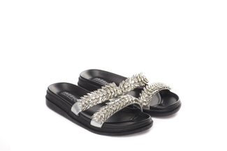 6240-11 Silver Jewelled Slide Sandals