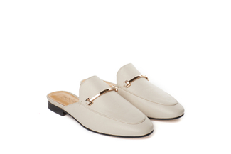 6936-10 Beige Metal Trim Mules