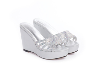 1269-B20 Silver Sparkling Wedge Sandals