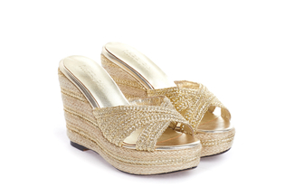 1269-B21 Gold Criss Cross Wedge Sandals