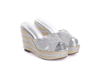 1269-B21 Silver Criss Cross Wedge Sandals