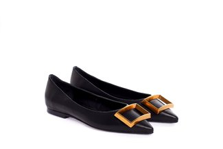 361-707 Black Frame Buckle Flats