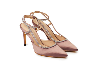 9039-6 Taupe Strappy Crystal Satin Heels