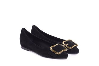 911-102 Black Crystal Embellished Buckle Flats