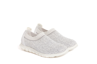 003-4 White Knit Sock Sneakers