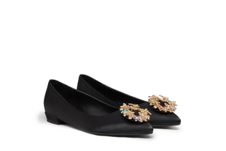 0701-B7 Black Embellished Satin Flats