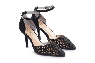2311-B1 Black Diamante Heels