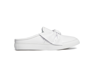 502-1A White Bow Mule Sneakers