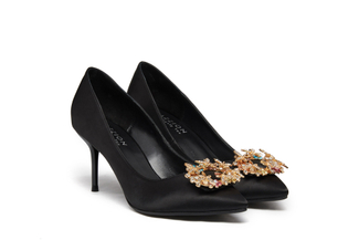 5590-B6 Black Brooch Satin Heels