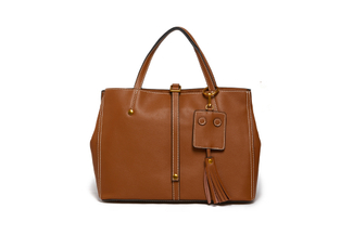 8101A Brown Leather Bowling Bag