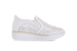 8193-2 White Embroidered Platform Sneakers