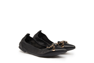 833-1 Black Studded Bow Flats