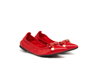 833-1 Red Studded Bow Flats
