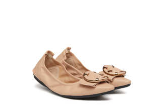 838-1 Light Almond Round Buckle Foldable Flats