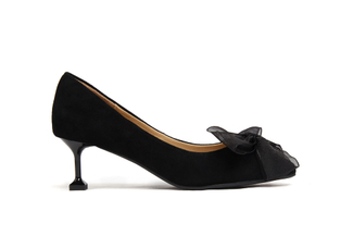 G065 Black Satin Bow Heels