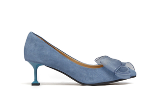 G065 Light Blue Satin Bow Heels