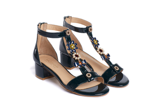 1732-02 Dark Green Embellished T-bar Sandals
