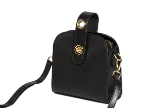 S1069 Black Turn-Lock Shoulder Bag